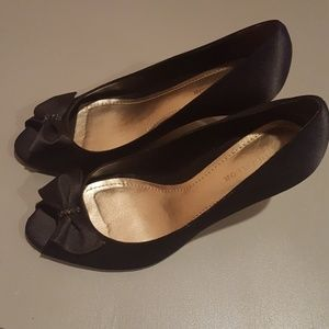 Ann Taylor Black Satin Bow Stilettos
